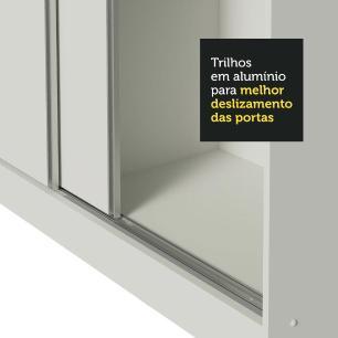 Guarda Roupa Casal 100% MDF Madesa Zurique 3 Portas de Correr de Espelho com Pés - Branco