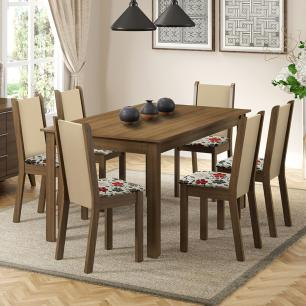 Conjunto Sala de Jantar Madesa Miriam Mesa Tampo de Madeira com 6 Cadeiras