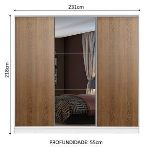 Guarda Roupa Casal 100% MDF Madesa Zurique 3 Portas de Correr com Espelho - Branco/Rustic