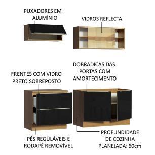 Cozinha Completa Madesa Lux com Armário e Balcão 5 Portas 2 Gavetas - Rustic/Preto