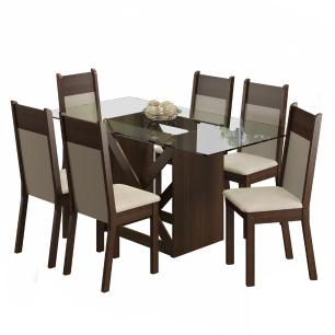 Conjunto Sala de Jantar Denver Madesa Mesa Tampo de Vidro com 6 Cadeiras