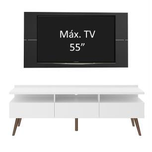 Rack Madesa Londres e Painel para TV até 55 Polegadas - Branco/Preto