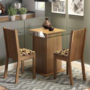 Conjunto Sala de Jantar Madesa Clei Mesa Tampo de Vidro com 2 Cadeiras
