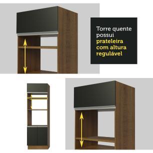 Cozinha Completa Madesa Safira com Armário e Balcão (Sem Tampo e Pia) - Rustic/Preto