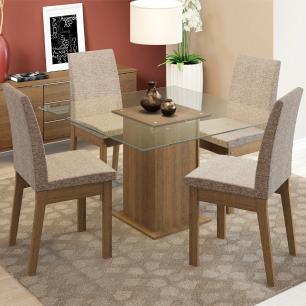 Conjunto Sala de Jantar Madesa Laila Mesa Tampo de Vidro com 4 Cadeiras