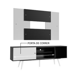 Rack Madesa Cairo e Painel para TV até 58 Polegadas com Pés de Madeira - Preto/Branco 77C7