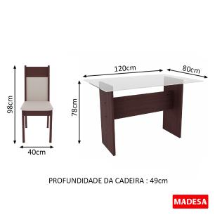 Conjunto Sala de Jantar Marina Madesa Mesa Tampo de Vidro com 4 Cadeiras