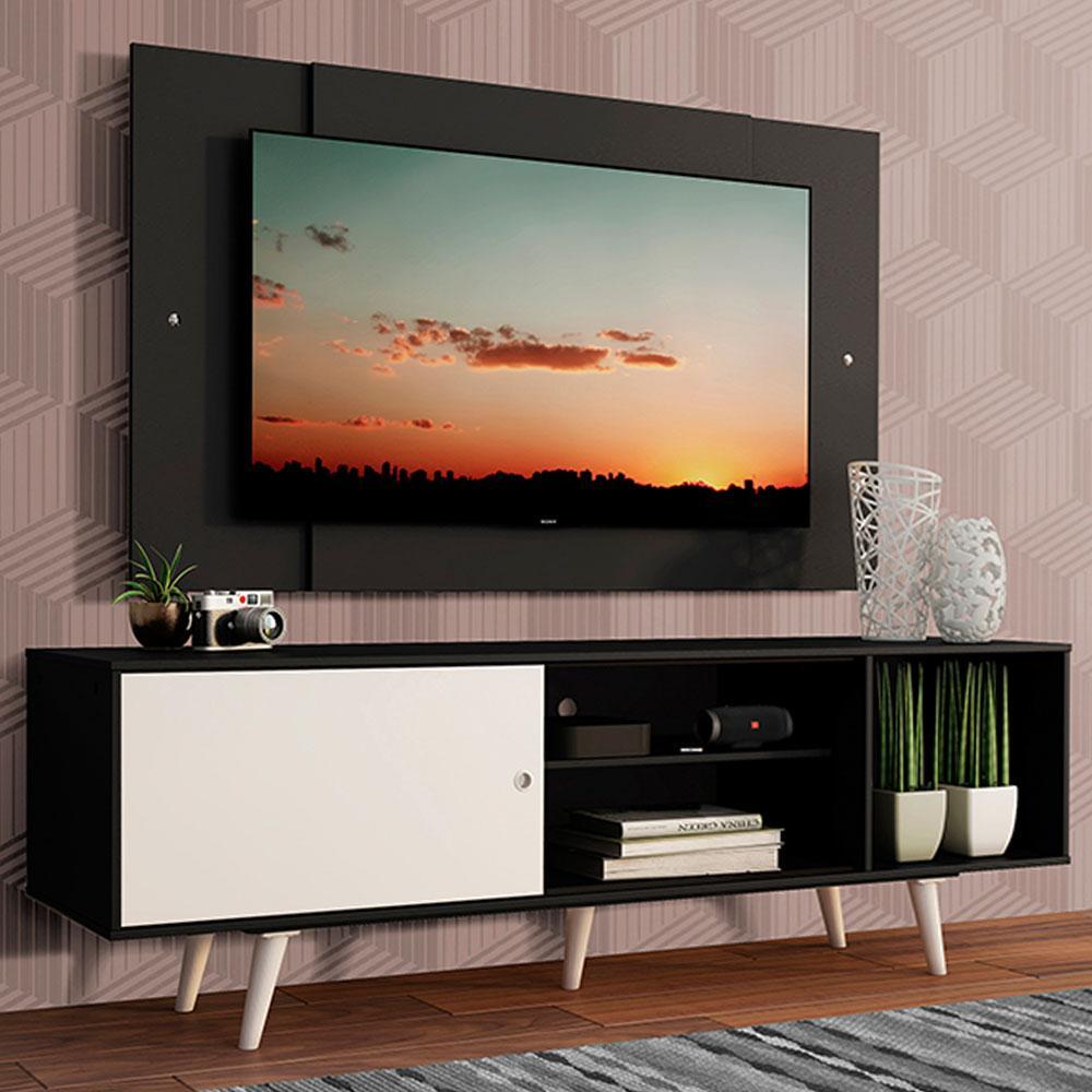 Rack Madesa Dubai com Pés e Painel para TV até 58 Polegadas - Preto/Branco 7777