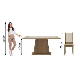Conjunto Sala de Jantar Madesa Emma Mesa Tampo de Vidro com 6 Cadeiras - Rustic/Crema/Bege