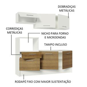 Cozinha Compacta Madesa Onix 180001 com Armário e Balcão