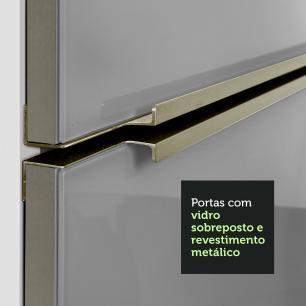 Cozinha Completa Madesa Lux com Armário e Balcão 5 Portas 2 Gavetas - Branco/Cinza