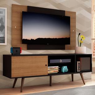 Rack Madesa Cairo e Painel para TV até 58 Polegadas com Pés de Madeira - Preto/Rustic D8C1