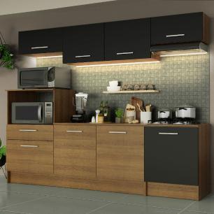 Cozinha Completa Madesa Onix 240003 com Armário e Balcão - Rustic/Preto 5ZD8