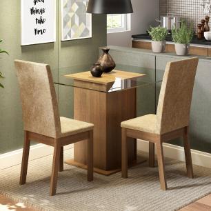 Conjunto Sala de Jantar Madesa Tamy Mesa Tampo de Vidro com 2 Cadeiras