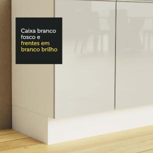Cozinha Completa Madesa Acordes 100% MDF com Armário e Balcão (Sem Tampo e Pia) - Frentes Branco Brilho
