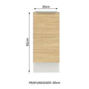 Balcão Madesa Lux 35 cm 1 Porta - Branco/Carvalho