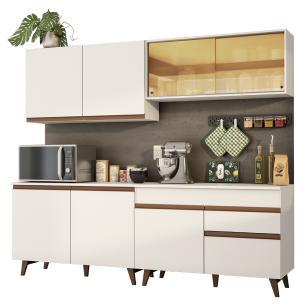 Cozinha Completa Madesa Reims 240001 com Armário e Balcão - Branco