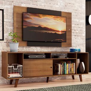 Rack Madesa Cancun e Painel para TV até 58 Polegadas com Pés - Rustic/Preto 5ZC1
