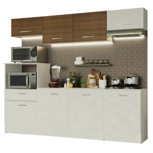 Cozinha Completa Madesa Onix 240002 com Armário e Balcão - Branco/Rustic 099B