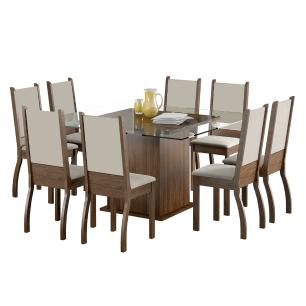Conjunto Sala de Jantar Vívian Madesa Mesa Tampo de Vidro com 8 Cadeiras