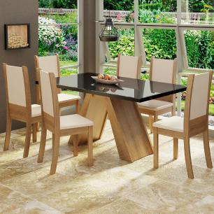 Conjunto Sala de Jantar Madesa Paola Mesa Tampo de Vidro com 6 Cadeiras