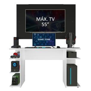 Mesa Gamer Madesa 9409 e Painel para TV até 58 Polegadas - Branco/Preto