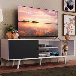 Rack Madesa Dubai para TV até 65 Polegadas com Pés - Branco/Preto/Branco