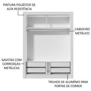 Guarda-Roupa Solteiro Madesa Dallas Plus 2 Portas de Correr com Espelho 4 Gavetas - Branco/Carvalho
