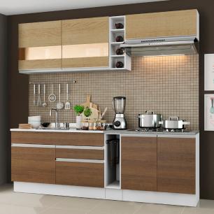 Cozinha Completa Madesa Parma com Armário e Balcão (Sem tampo e Pia) - Branco/Rustic/Saara