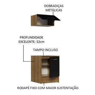 Kit Madesa Onix 60 cm 2 Portas com Armário Aéreo e Balcão - Rustic/Preto
