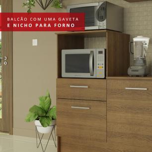 Cozinha Completa Madesa Onix 240002 com Armário e Balcão - Rustic/Branco 5Z6E
