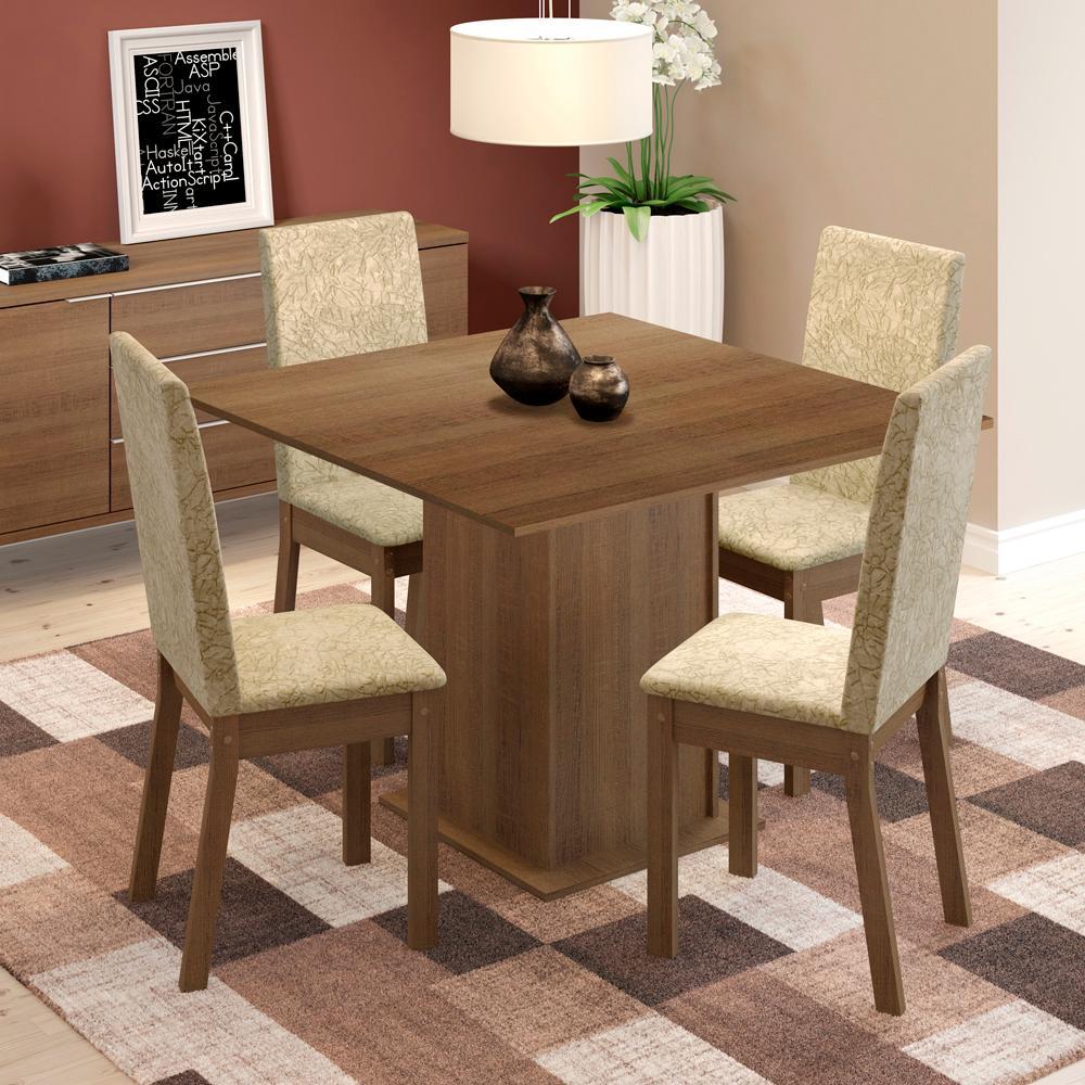 Conjunto Sala de Jantar Maggie Madesa Mesa Tampo de Madeira com 4 Cadeiras