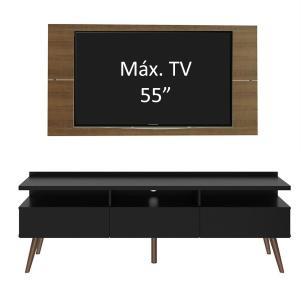 Rack Madesa Londres e Painel para TV até 55 Polegadas - Rustic/Preto