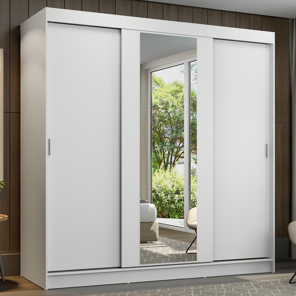 Guarda-Roupa Casal Madesa Reno 3 Portas de Correr com Espelho - Branco