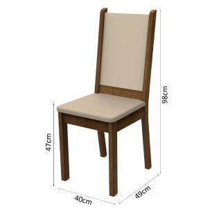 Kit 2 Cadeiras de Jantar 4281 Madesa Rustic/Crema/Pérola