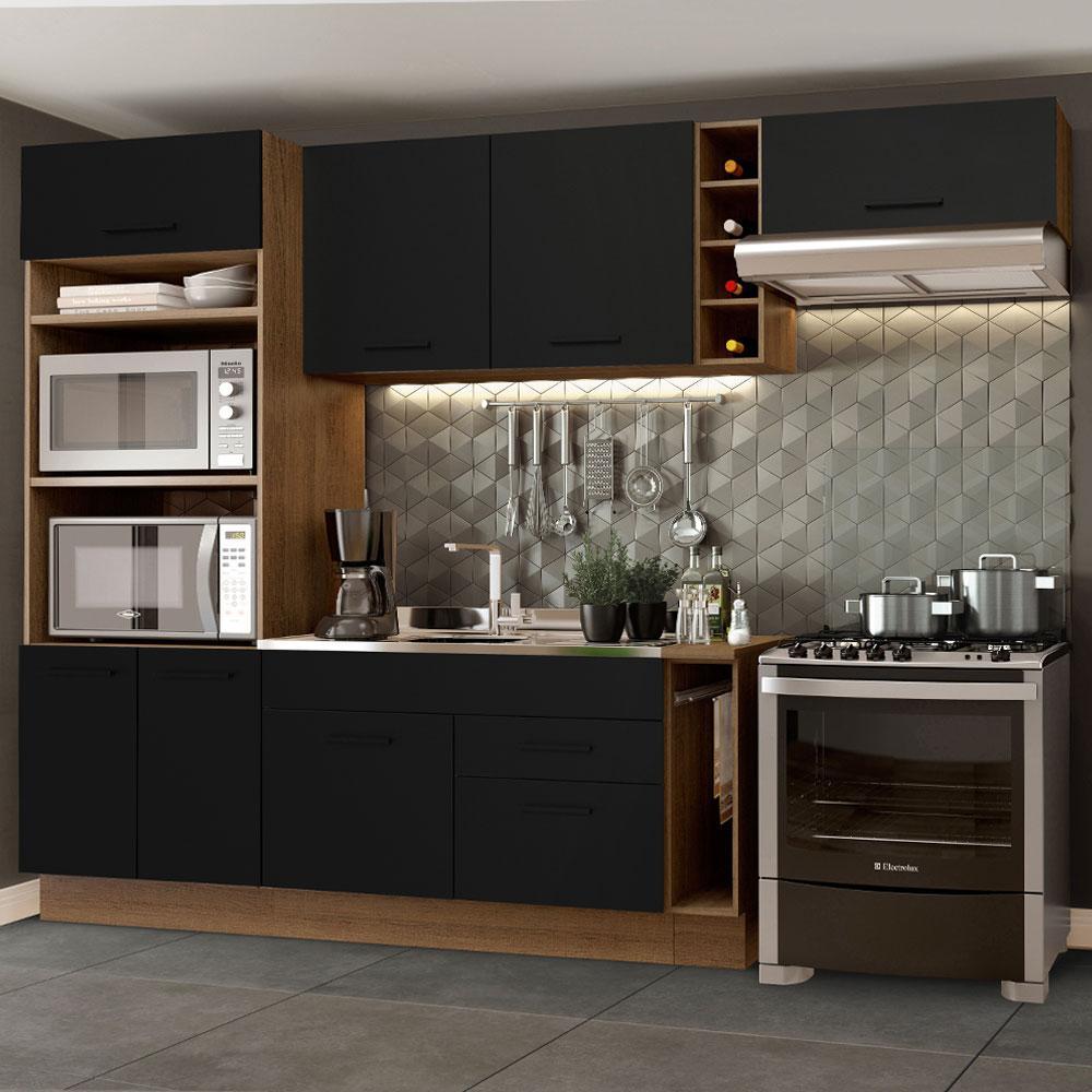 Cozinha Completa Madesa Agata 290002 com Armário e Balcão (Sem Tampo e Pia) - Rustic/Preto