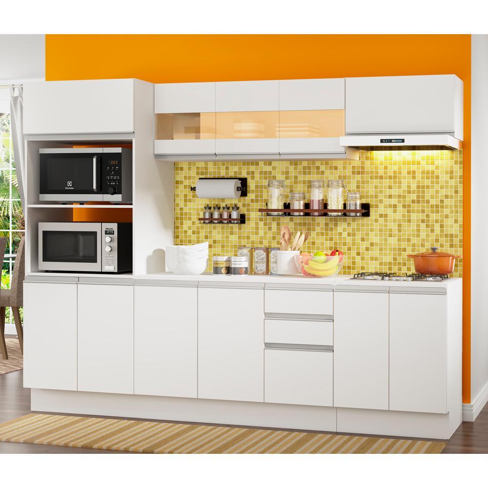 Cozinha Completa 100% MDF Madesa Smart 250 cm Modulada Com Balcão e Tampo