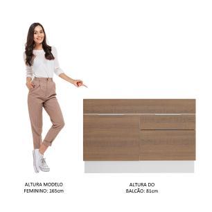Balcão de Pia Madesa Stella 1 Porta e 2 Gavetas - Branco/Rustic