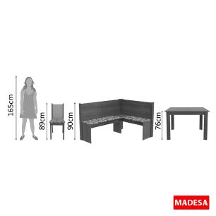 Canto Alemão Madesa Onill com Mesa e 2 Cadeiras