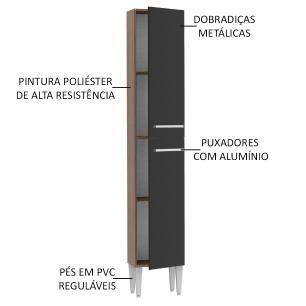 Paneleiro Madesa Emilly 2 Portas - Rustic/Preto