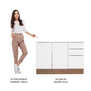 Balcão de Pia Madesa Stella 2 Portas e 3 Gavetas - Rustic/Branco