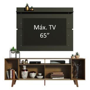 Rack Madesa Cancun com Pés e Painel para TV até 65 Polegadas - Rustic/Preto  7KD8