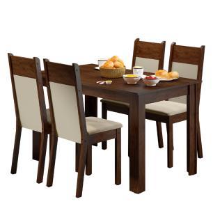 Conjunto Sala de Jantar Havana Madesa Mesa Tampo de Madeira com 4 Cadeiras