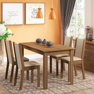 Conjunto Sala de Jantar Rosa Madesa Mesa com 4 Cadeiras