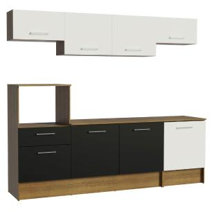 Cozinha Completa Madesa Onix 240003 com Armário e Balcão - Rustic/Branco/Preto 5Z73