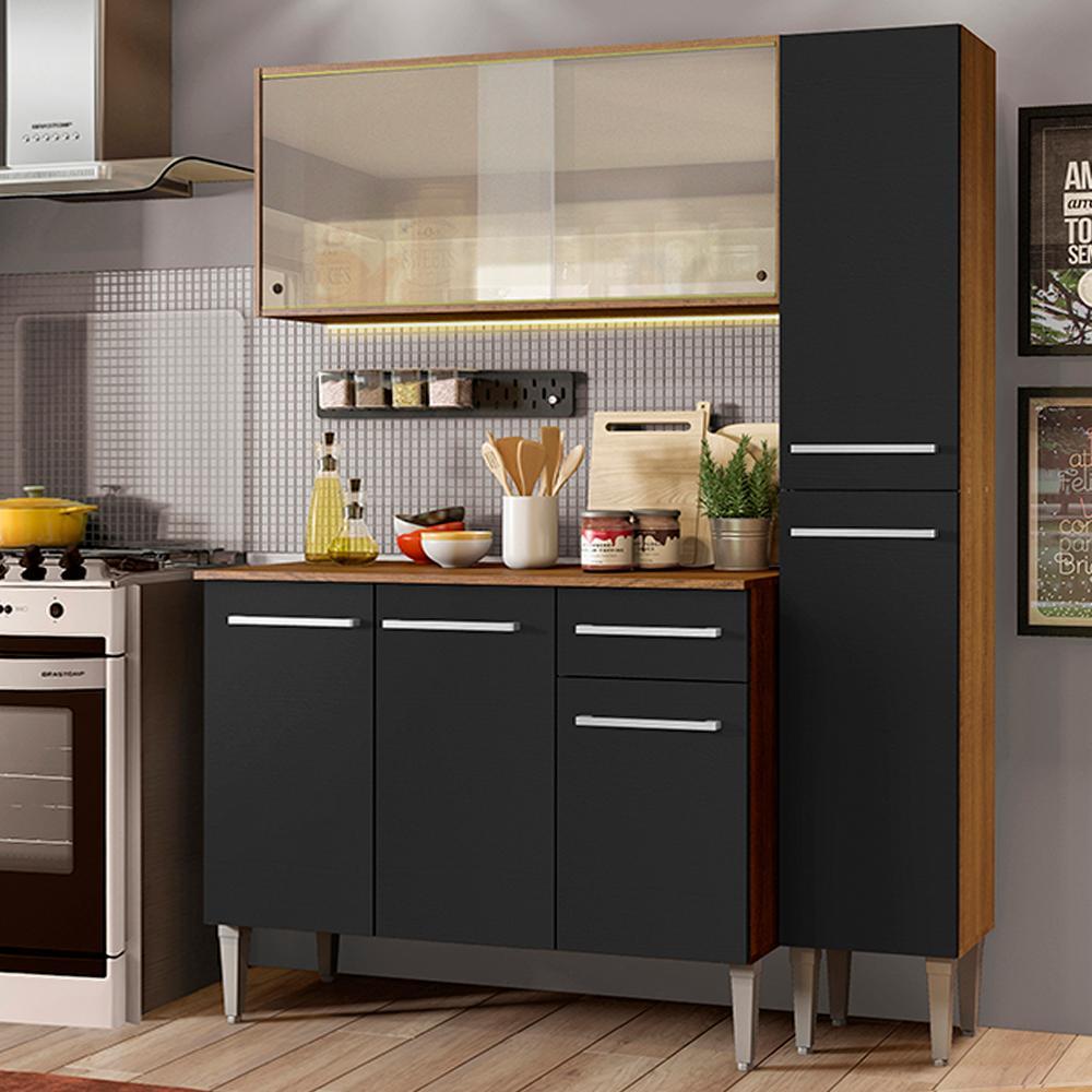 Cozinha Compacta Madesa Emilly Force com Armário, Balcão e Paneleiro - Rustic/Preto