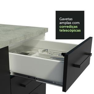 Cozinha Completa Madesa Agata 310001 com Armário e Balcão (Sem Tampo e Pia) - Branco/Preto
