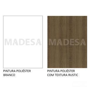 Rack Madesa Cairo e Painel para TV até 65 Polegadas com Pés de Madeira - Branco/Rustic/Branco