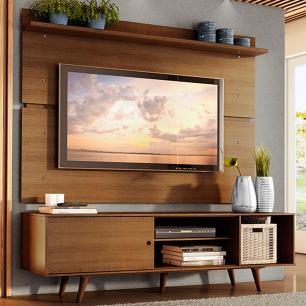Rack Madesa Dubai e Painel para TV até 65 Polegadas com Pés - Rustic