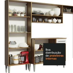 Cozinha Completa de Canto Reto Madesa EmillyBigcom Armário e Balcão 21 Portas 1 Gaveta - Rustic/Branco
